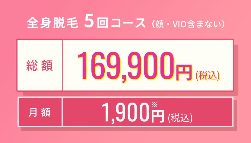 全身脱毛5回コース 総額169,900円